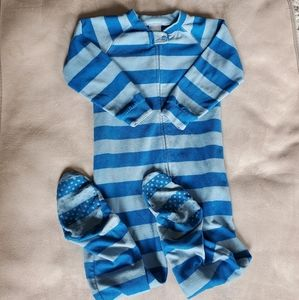 Miniboots Blue Stripe Zippered & Footed Pajama 3T